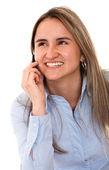 Mujer hermosa en el teléfono — Foto de Stock