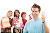 Man with shopping girls — Stock Photo