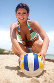 Woman with a volleyball — Photo