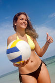 Bikini woman with a volleyball — Stock Photo
