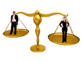 Business couple on a golden scales isolated — Stock Photo