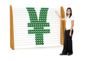 Business woman with a Yen symbol — Stock Photo