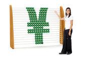 Femme d'affaires avec un symbole yen — Photo