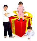Kids with a gift — Stock Photo