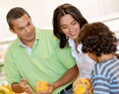 Family shopping for groceries — Stock Photo