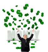 Business man in a money rain — Stock Photo