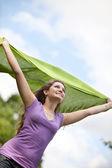 Woman feeling the wind — Stock Photo
