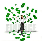 Business woman under a money rain — Stock Photo