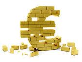 Collapsing euro symbol — Stock Photo