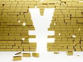 S'effondrer le mur en un symbole yen — Photo