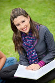Beautiful student outdoors — Stock Photo