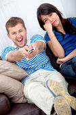 Couple watching tv — Stock Photo
