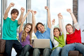Exited group of friends — Stock Photo