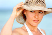 Woman with a hat — Stock Photo