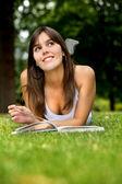 Dalgın kadın eğitimi — Stok fotoğraf