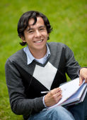 Male student smiling — Stock Photo