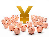 Piggybanks around a yen symbol — Stockfoto