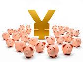 Piggybanks attorno a un simbolo di yen — Foto Stock