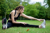 Woman stretching — Stock Photo
