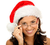 Christmas woman isolated — Stock Photo