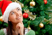 Pensive Christmas woman — Stockfoto