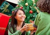 рождественские женщина givin подарок — Стоковое фото