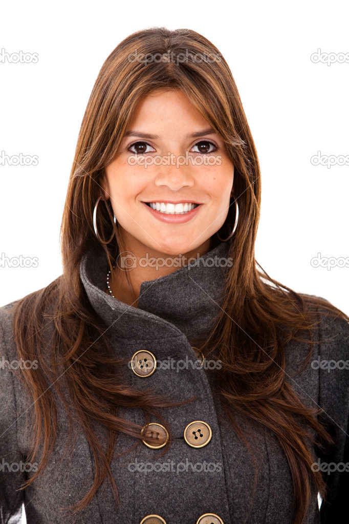 Business woman portrait smiling isolated over white — Stock Photo #7731084