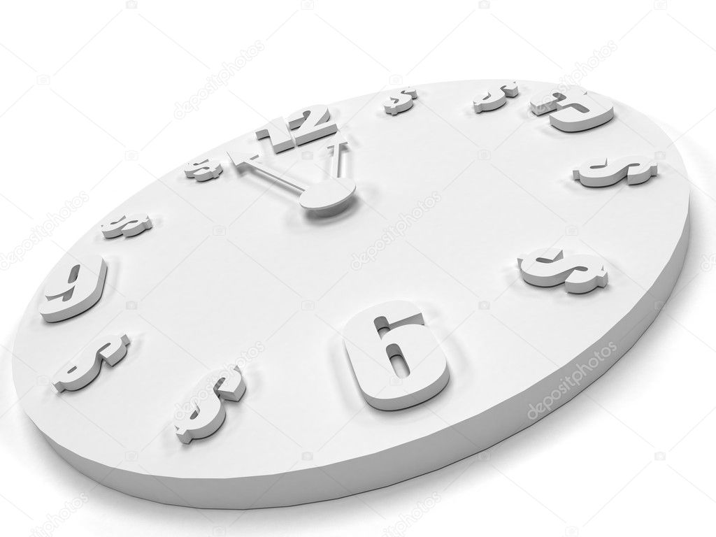 Clock at midnight isolated over a white background — Stock Photo #7731206