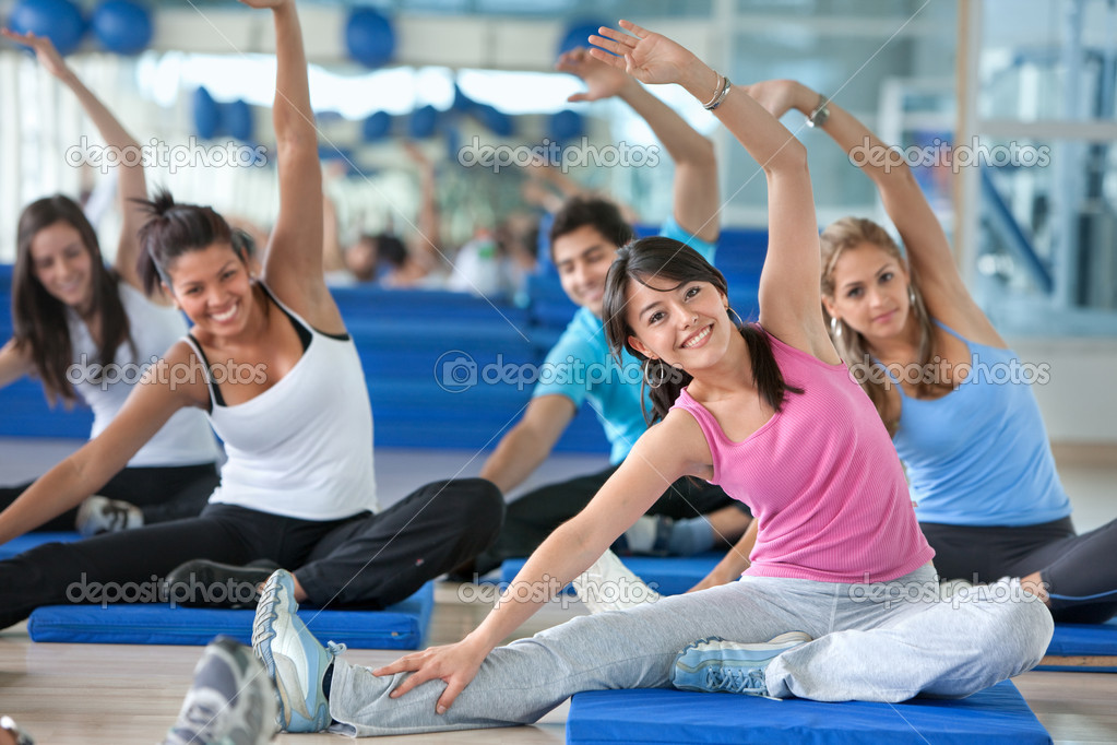Group of in a stretching class at the gym  Stock Photo #7731992