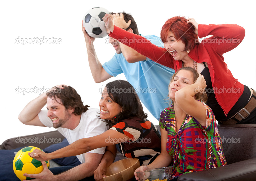 Group of friends watching football isolated over white — Stock Photo #7732301