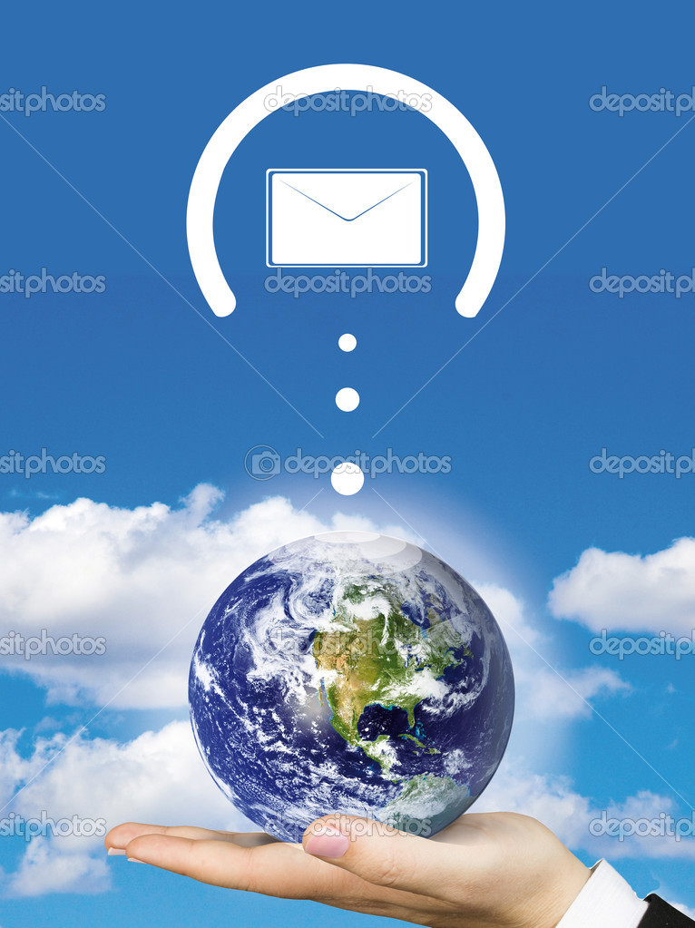 Worldwide mail with envelopes around the earth — Stock Photo #7736807