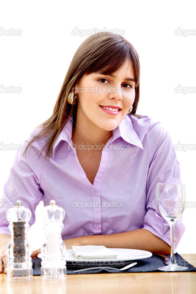 Woman at dinner table ready to eat isolated — Stock Photo #7737086