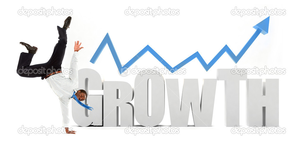 Business man with the word growth isolated on white — Stock Photo #7737252