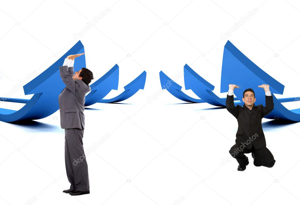 Business men pushing arrows to go up - isolated over white — Stock Photo #7738250