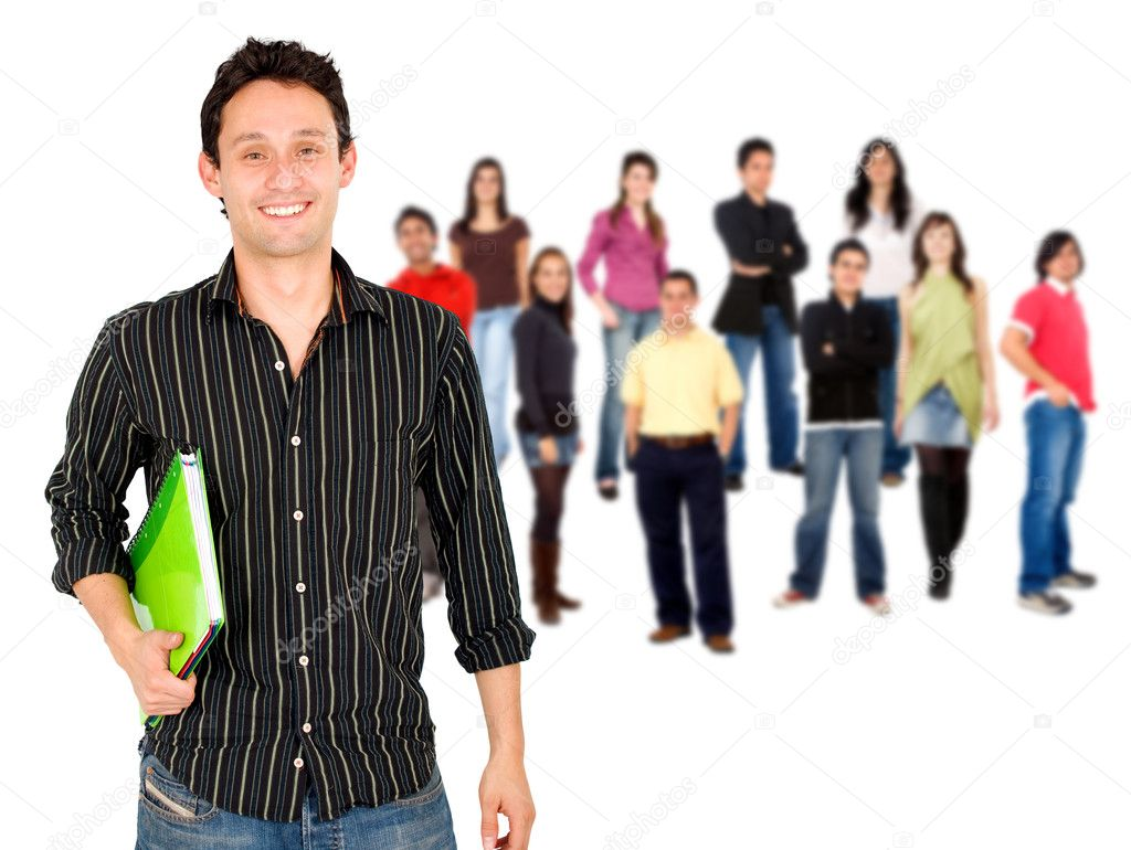 Happy student smiling in front of a group isolated over a white background — Stock Photo #7739421