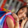 Shopping woman on the phone - Stock Photo