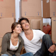Couple portrait moving — Stock Photo