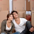 Couple portrait moving - Stock Photo
