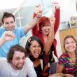 Excited group watching football — Stock Photo