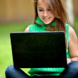 Woman on a laptop — Stock Photo