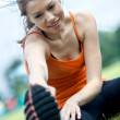 Girl doing stretching — Stock Photo