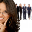 Stock Photo: Business woman with a group