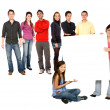 Group of with a banner — Stock Photo