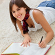 Stock Photo: Relaxed womstudying