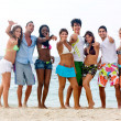 Beach with thumbs up — Stock Photo