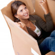 Woman in a box — Stock Photo