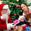 Mother and son with Santa — Stock Photo