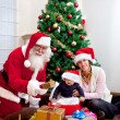 Mother and son with Santa — Stockfoto