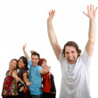 Excited man and group — Stock Photo