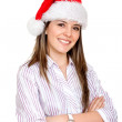 Girl with Santa hat — Stock Photo